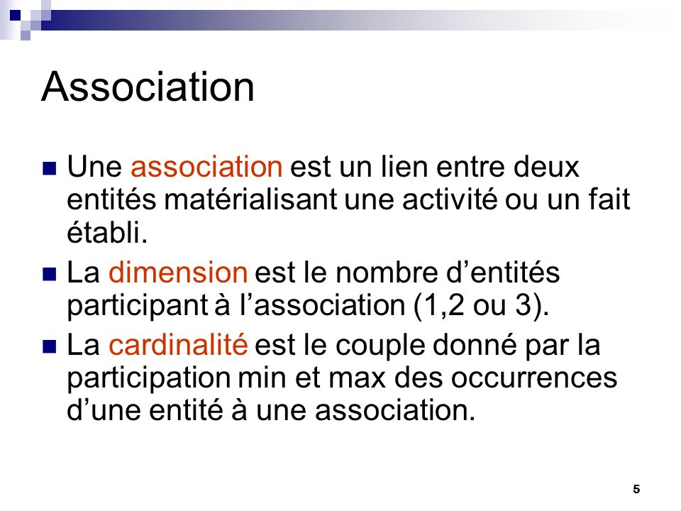5 Association Une association est un lien entre deux entités matérialisant une activité ou un fait établi. La dimension est le nombre dentités partici