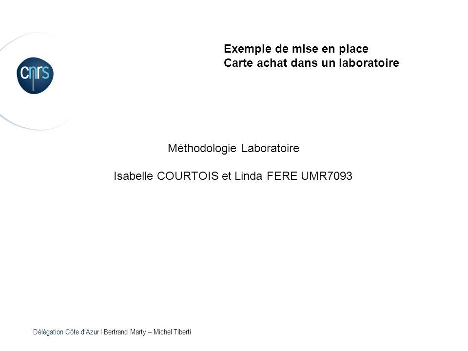 Délégation Côte dAzur l Bertrand Marty – Michel Tiberti Exemple de mise en place Carte achat dans un laboratoire Méthodologie Laboratoire Isabelle COU