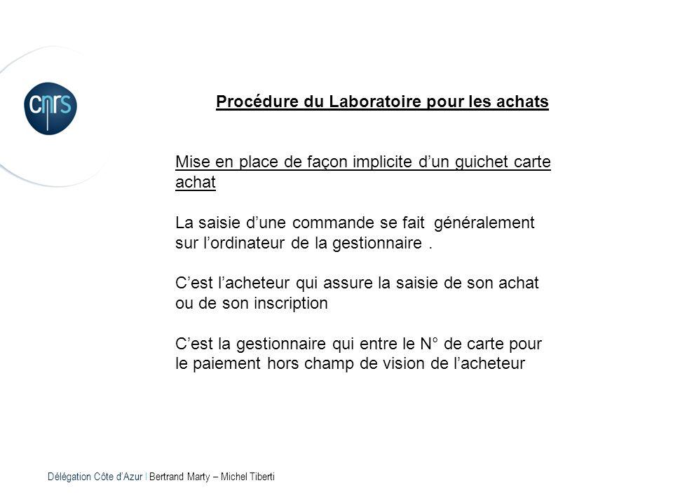 Délégation Côte dAzur l Bertrand Marty – Michel Tiberti Procédure du Laboratoire pour les achats Mise en place de façon implicite dun guichet carte ac