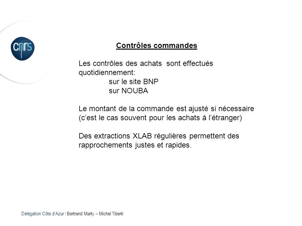 Délégation Côte dAzur l Bertrand Marty – Michel Tiberti Contrôles commandes Les contrôles des achats sont effectués quotidiennement: sur le site BNP s