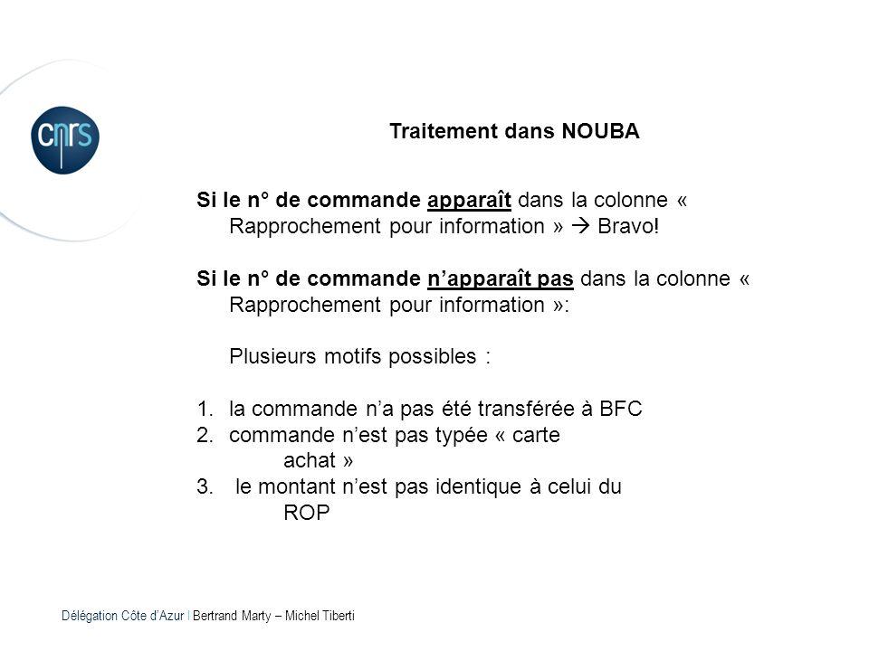 Délégation Côte dAzur l Bertrand Marty – Michel Tiberti Traitement dans NOUBA Si le n° de commande apparaît dans la colonne « Rapprochement pour infor