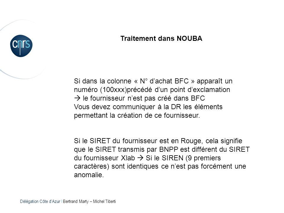 Délégation Côte dAzur l Bertrand Marty – Michel Tiberti Traitement dans NOUBA Si dans la colonne « N° dachat BFC » apparaît un numéro (100xxx)précédé