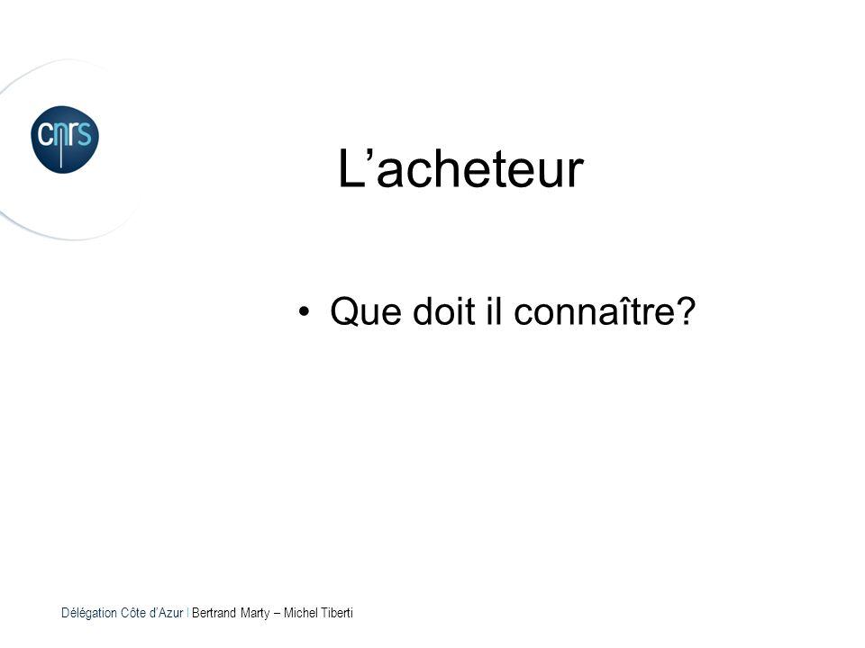 Délégation Côte dAzur l Bertrand Marty – Michel Tiberti Lacheteur Que doit il connaître?