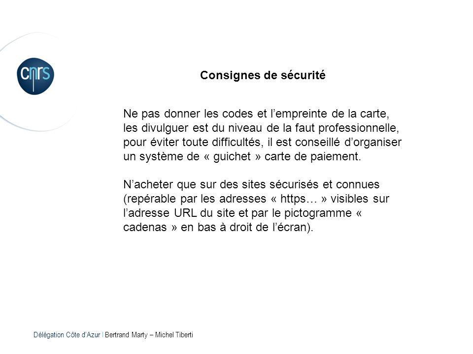 Délégation Côte dAzur l Bertrand Marty – Michel Tiberti Consignes de sécurité Ne pas donner les codes et lempreinte de la carte, les divulguer est du