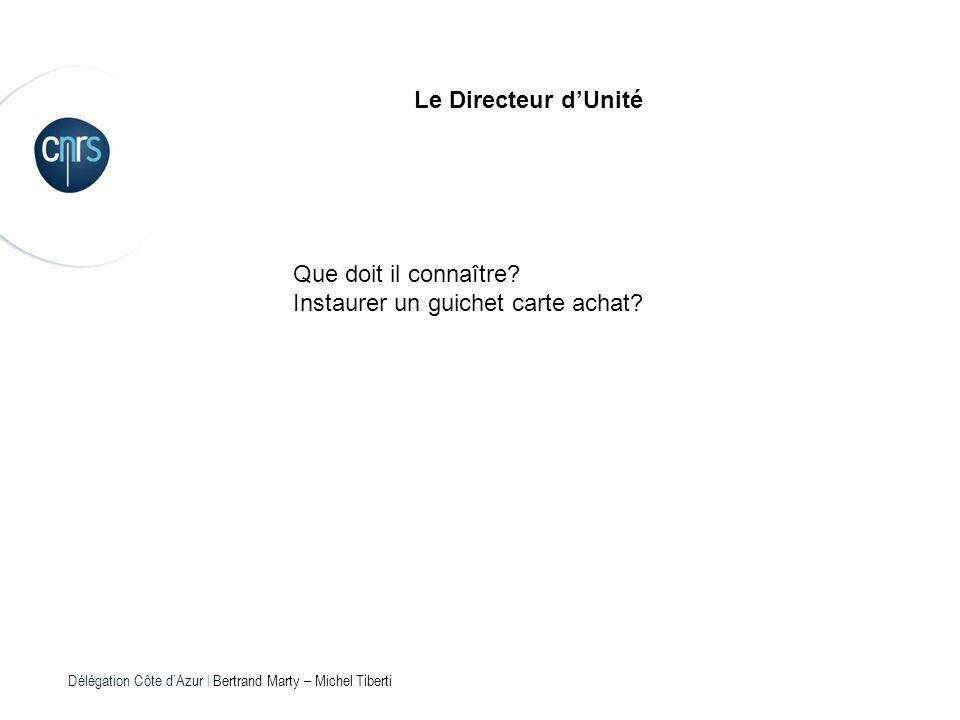 Délégation Côte dAzur l Bertrand Marty – Michel Tiberti Le Directeur dUnité Que doit il connaître? Instaurer un guichet carte achat?