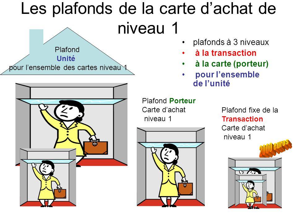 Les plafonds de la carte dachat de niveau 1 plafonds à 3 niveaux à la transaction à la carte (porteur) pour lensemble de lunité Plafond Unité pour len