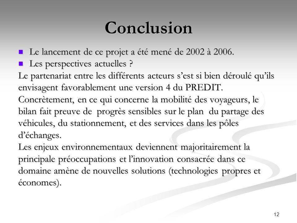 12 Conclusion Le lancement de ce projet a été mené de 2002 à 2006. Le lancement de ce projet a été mené de 2002 à 2006. Les perspectives actuelles ? L