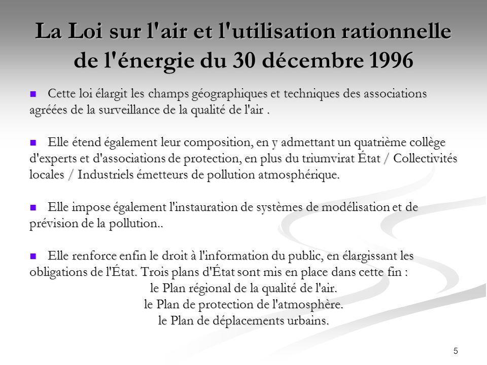5 La Loi sur l'air et l'utilisation rationnelle de l'énergie du 30 décembre 1996 Cette loi élargit les champs géographiques et techniques des associat