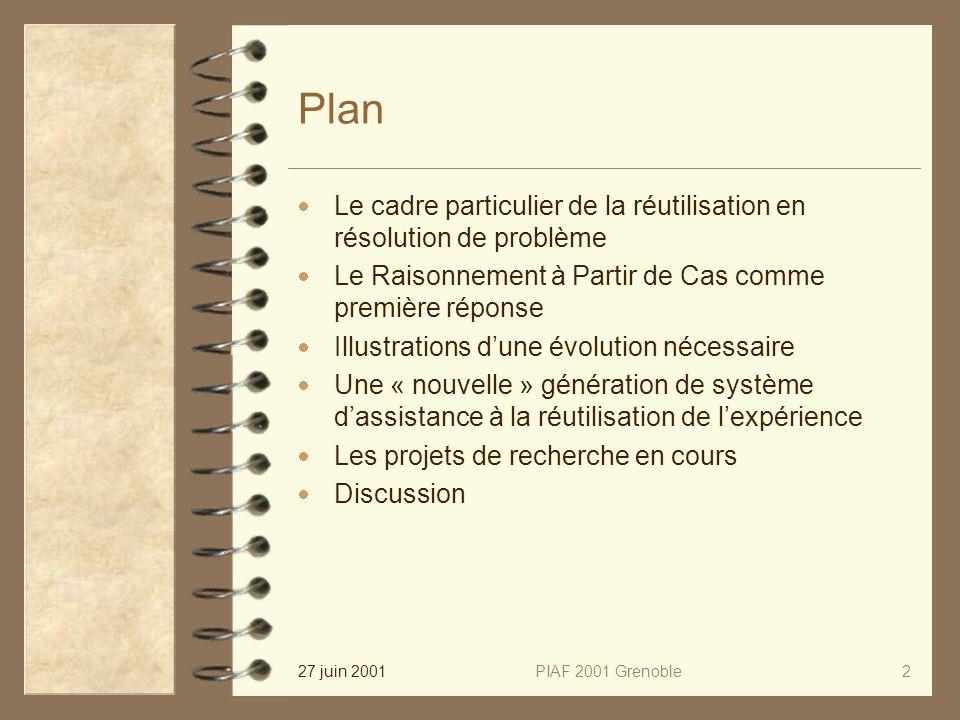 27 juin 2001PIAF 2001 Grenoble2 Plan Le cadre particulier de la réutilisation en résolution de problème Le Raisonnement à Partir de Cas comme première réponse Illustrations dune évolution nécessaire Une « nouvelle » génération de système dassistance à la réutilisation de lexpérience Les projets de recherche en cours Discussion