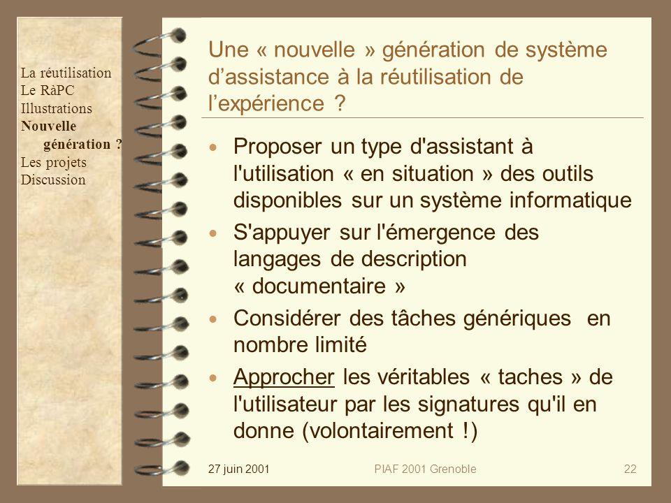 27 juin 2001PIAF 2001 Grenoble22 Une « nouvelle » génération de système dassistance à la réutilisation de lexpérience ? Proposer un type d'assistant à