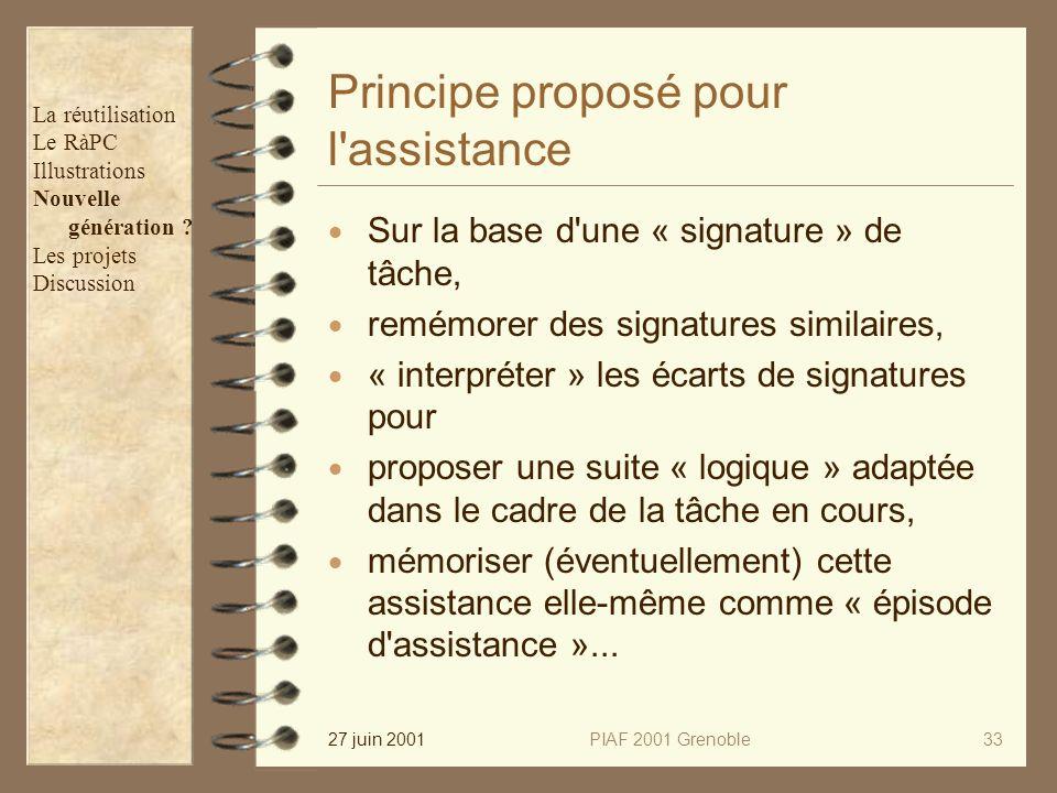 27 juin 2001PIAF 2001 Grenoble33 Principe proposé pour l assistance Sur la base d une « signature » de tâche, remémorer des signatures similaires, « interpréter » les écarts de signatures pour proposer une suite « logique » adaptée dans le cadre de la tâche en cours, mémoriser (éventuellement) cette assistance elle-même comme « épisode d assistance »...
