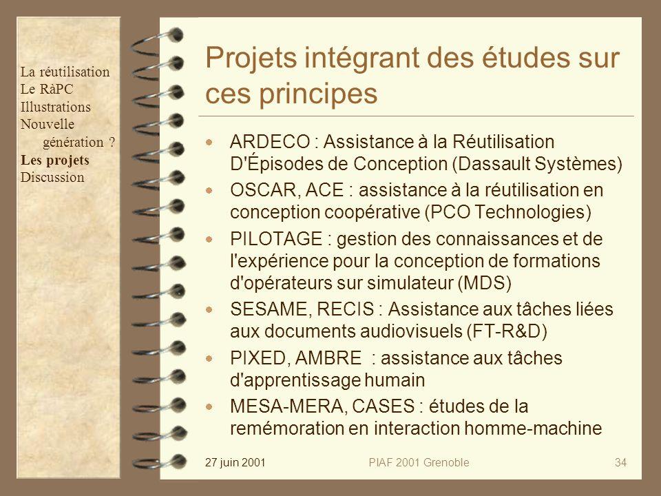 27 juin 2001PIAF 2001 Grenoble34 Projets intégrant des études sur ces principes ARDECO : Assistance à la Réutilisation D Épisodes de Conception (Dassault Systèmes) OSCAR, ACE : assistance à la réutilisation en conception coopérative (PCO Technologies) PILOTAGE : gestion des connaissances et de l expérience pour la conception de formations d opérateurs sur simulateur (MDS) SESAME, RECIS : Assistance aux tâches liées aux documents audiovisuels (FT-R&D) PIXED, AMBRE : assistance aux tâches d apprentissage humain MESA-MERA, CASES : études de la remémoration en interaction homme-machine La réutilisation Le RàPC Illustrations Nouvelle génération .
