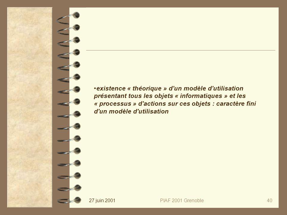 27 juin 2001PIAF 2001 Grenoble40 existence « théorique » d un modèle d utilisation présentant tous les objets « informatiques » et les « processus » d actions sur ces objets : caractère fini d un modèle d utilisation