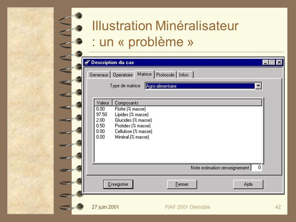 27 juin 2001PIAF 2001 Grenoble42 Illustration Minéralisateur : un « problème »