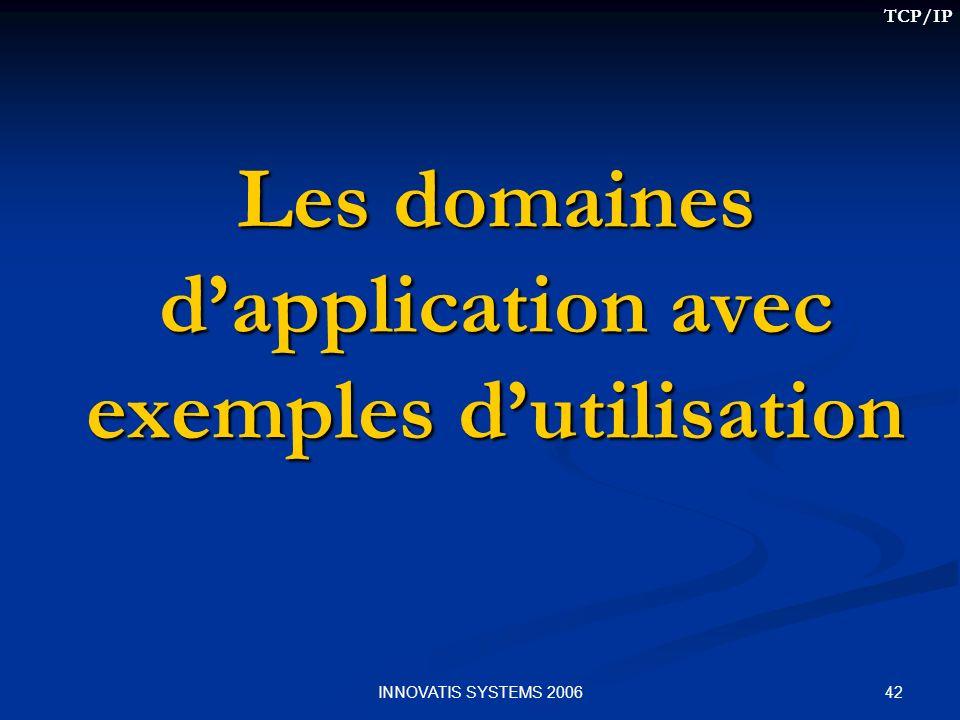42INNOVATIS SYSTEMS 2006 Les domaines dapplication avec exemples dutilisation TCP/IP