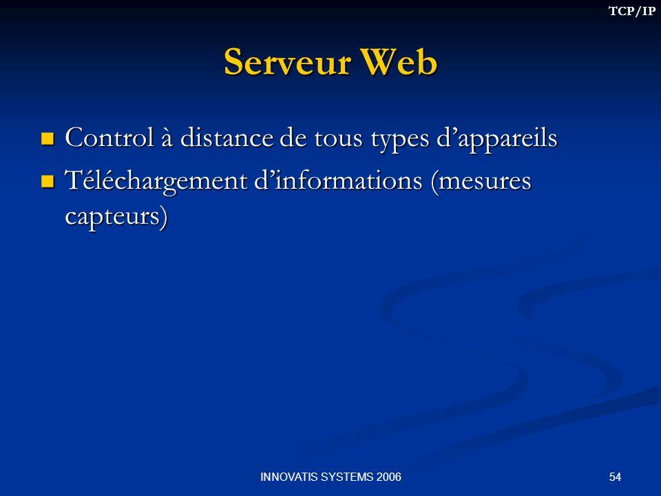 54INNOVATIS SYSTEMS 2006 Serveur Web Control à distance de tous types dappareils Control à distance de tous types dappareils Téléchargement dinformations (mesures capteurs) Téléchargement dinformations (mesures capteurs) TCP/IP
