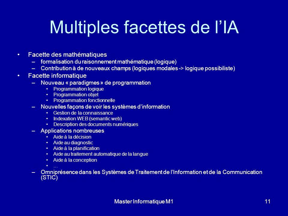 Master Informatique M111 Multiples facettes de lIA Facette des mathématiques –formalisation du raisonnement mathématique (logique) –Contribution à de