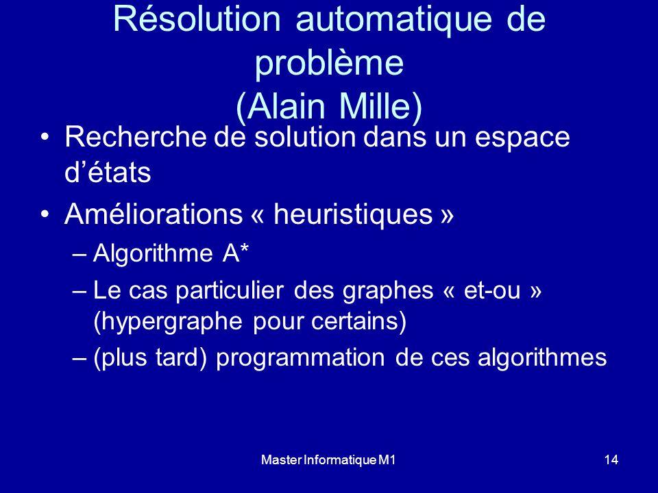 Master Informatique M114 Résolution automatique de problème (Alain Mille) Recherche de solution dans un espace détats Améliorations « heuristiques » –
