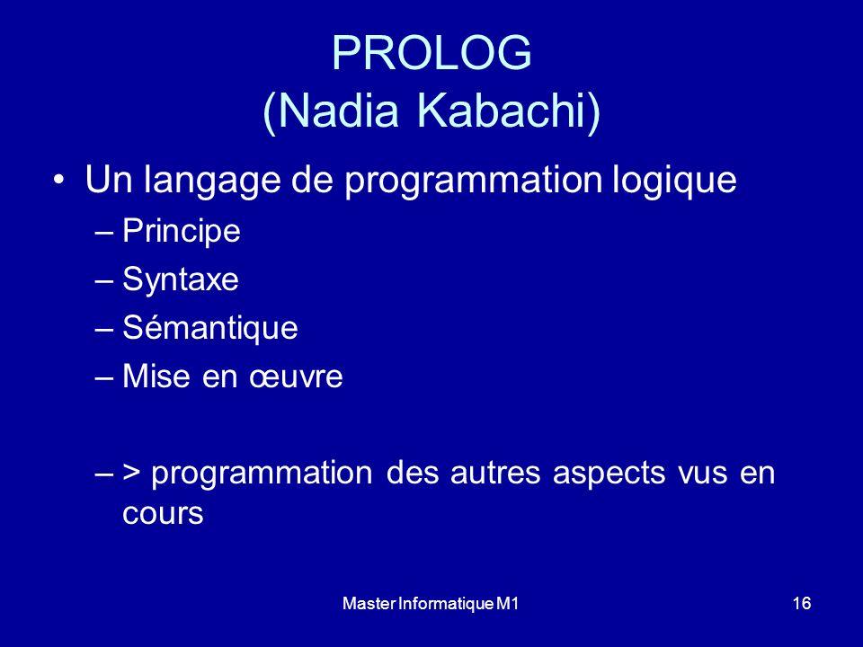 Master Informatique M116 PROLOG (Nadia Kabachi) Un langage de programmation logique –Principe –Syntaxe –Sémantique –Mise en œuvre –> programmation des