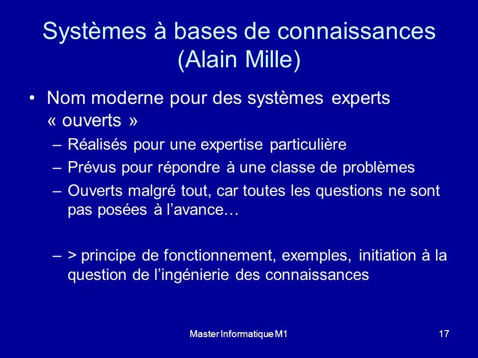 Master Informatique M117 Systèmes à bases de connaissances (Alain Mille) Nom moderne pour des systèmes experts « ouverts » –Réalisés pour une expertis