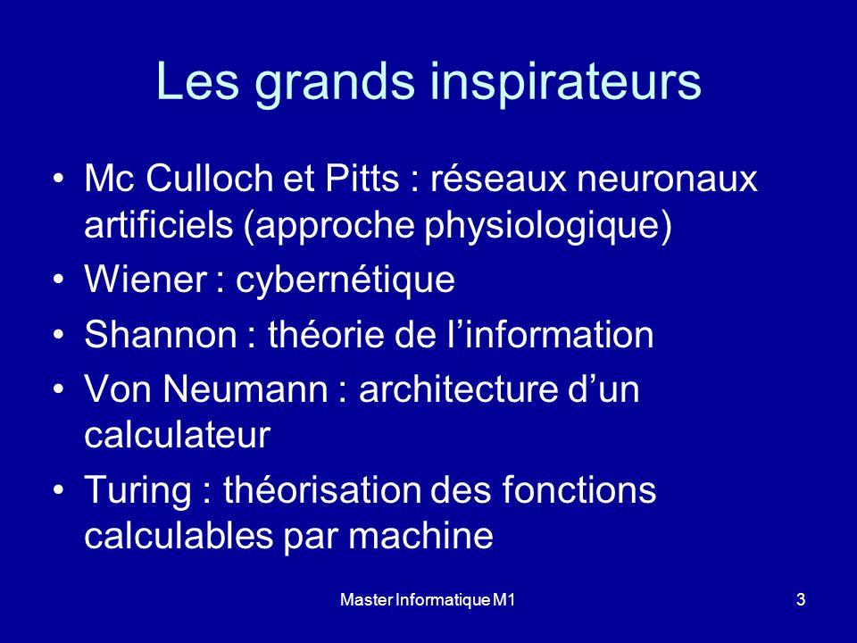 Master Informatique M13 Les grands inspirateurs Mc Culloch et Pitts : réseaux neuronaux artificiels (approche physiologique) Wiener : cybernétique Sha