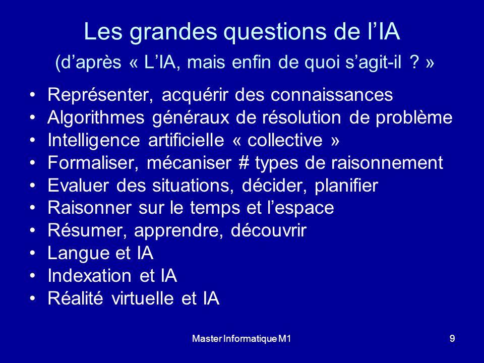Master Informatique M19 Les grandes questions de lIA (daprès « LIA, mais enfin de quoi sagit-il ? » Représenter, acquérir des connaissances Algorithme