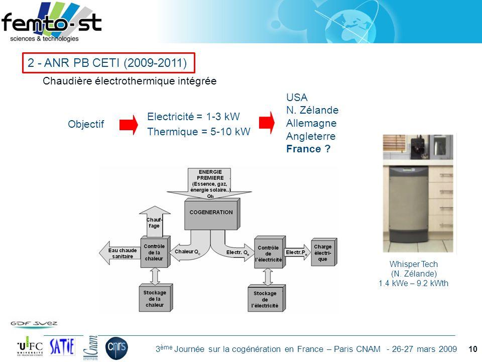 Événement - date 3 ème Journée sur la cogénération en France – Paris CNAM - 26-27 mars 2009 10 Electricité = 1-3 kW Thermique = 5-10 kW Objectif USA N