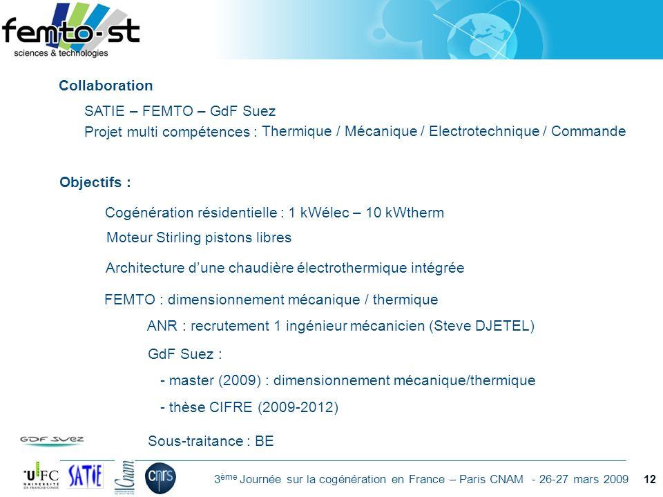 Événement - date 3 ème Journée sur la cogénération en France – Paris CNAM - 26-27 mars 2009 12 Objectifs : Cogénération résidentielle : 1 kWélec – 10