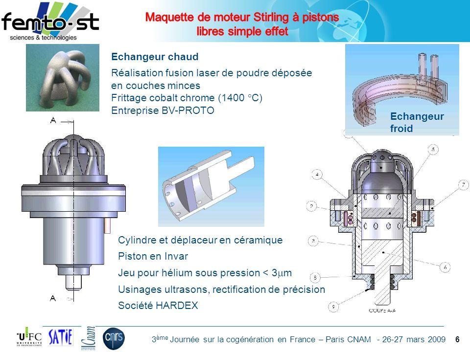 Événement - date 3 ème Journée sur la cogénération en France – Paris CNAM - 26-27 mars 2009 Cylindre et déplaceur en céramique Piston en Invar Jeu pou