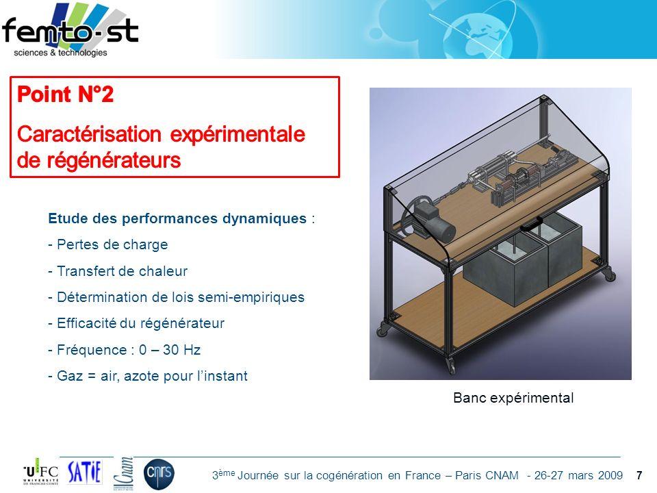 Événement - date 3 ème Journée sur la cogénération en France – Paris CNAM - 26-27 mars 2009 Banc expérimental Etude des performances dynamiques : - Pe