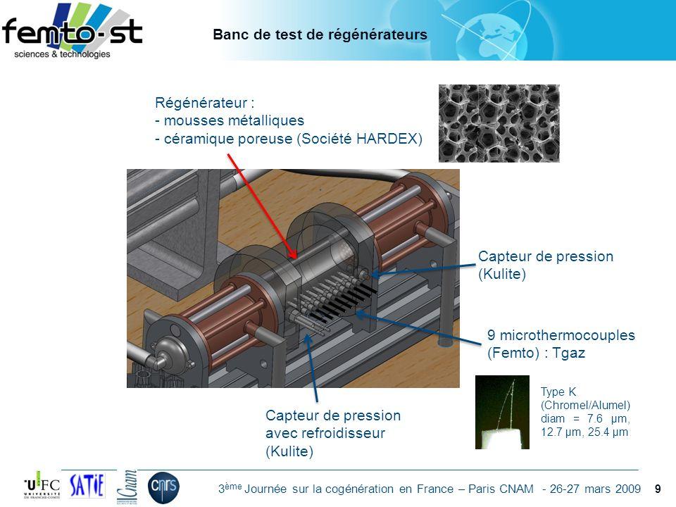 Événement - date 3 ème Journée sur la cogénération en France – Paris CNAM - 26-27 mars 2009 Régénérateur : - mousses métalliques - céramique poreuse (