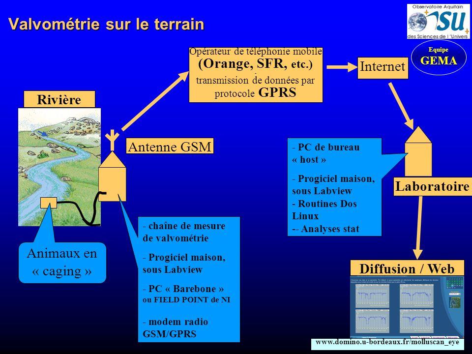 Synoptique de la liaison terrain-laboratoire Equipe GEMA Transfert datas Transfert ip Ordinateur Valvo DOS Windows Labview Hayes Ip.bat et Ip.txt Ordinateur Labo LINUX C+ Stat (S et R) Adresse ip en cours, toutes les heures, à partir de 0h30-> FTP Recup ip, chaque heure A Minuit pile : Labview lance : Zippeur.bat et gzip.exe qui compressent le fichier J-1 En suivant, il lance Data-ftp-bat se servant de data-ftp-txt qui envoient le fichier J-1 par FTP A 2h00 : Routines de traitements des fichiers Télémaintenance Prise de control avec Winvnc (il faut connaître le n° ip) Ordinateurs Utilisateurs Lecture de ladresse ip en cours Terrain Labo Fichier data zippé (2006-01-26-datas.gz) envoyé à 0h00-> FTP Correction derreur Si pb transfert, on relance un nouveau transfert Datas Ok.
