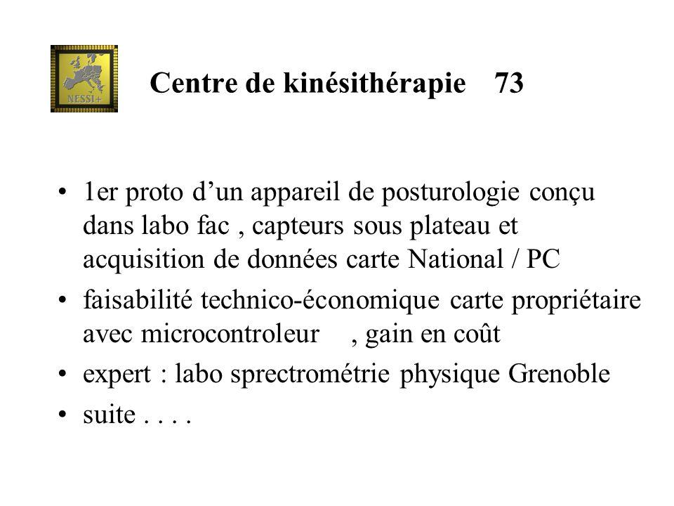 Centre de kinésithérapie 73 1er proto dun appareil de posturologie conçu dans labo fac, capteurs sous plateau et acquisition de données carte National