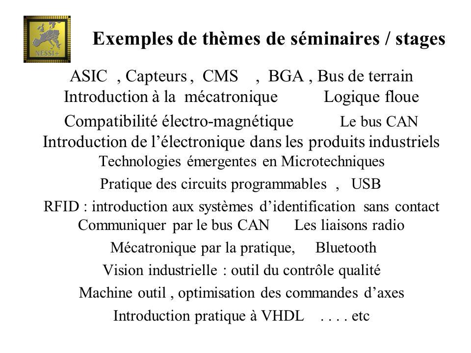 ASIC, Capteurs, CMS, BGA, Bus de terrain Introduction à la mécatronique Logique floue Compatibilité électro-magnétique Le bus CAN Introduction de léle