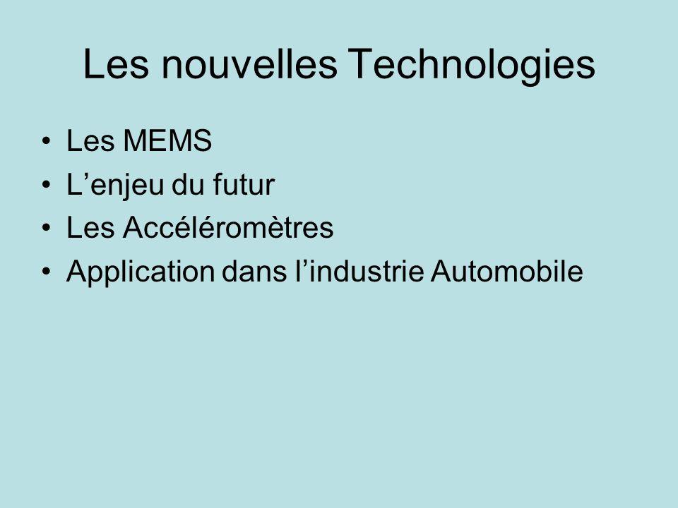 Les nouvelles Technologies Les MEMS Lenjeu du futur Les Accéléromètres Application dans lindustrie Automobile