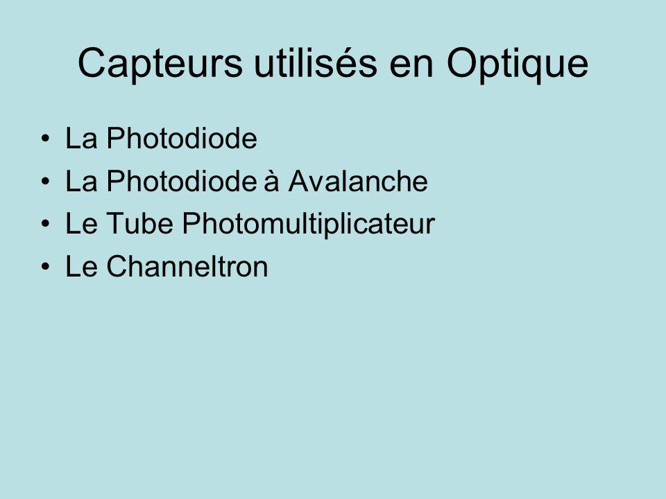 Capteurs utilisés en Optique La Photodiode La Photodiode à Avalanche Le Tube Photomultiplicateur Le Channeltron