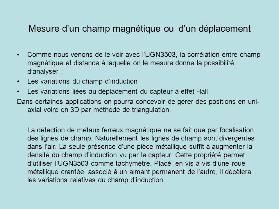 Mesure dun champ magnétique ou dun déplacement Comme nous venons de le voir avec lUGN3503, la corrélation entre champ magnétique et distance à laquell