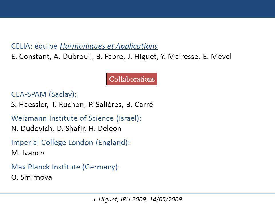 J. Higuet, JPU 2009, 14/05/2009 CELIA: équipe Harmoniques et Applications E. Constant, A. Dubrouil, B. Fabre, J. Higuet, Y. Mairesse, E. Mével Collabo