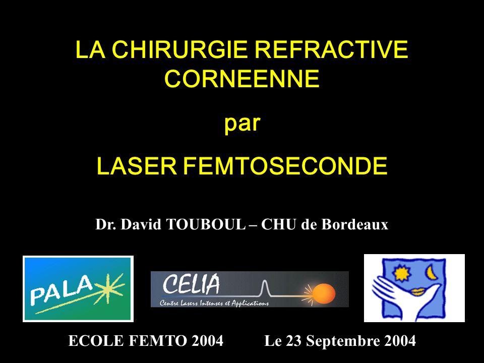 LA CHIRURGIE REFRACTIVE CORNEENNE par LASER FEMTOSECONDE Dr. David TOUBOUL – CHU de Bordeaux ECOLE FEMTO 2004 Le 23 Septembre 2004