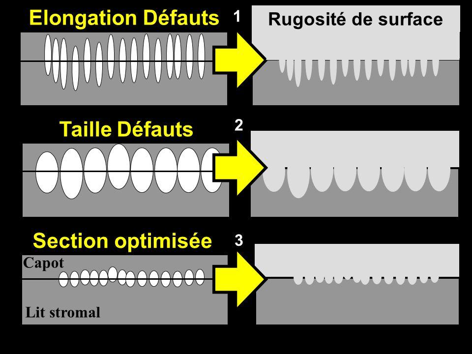 Elongation Défauts Taille Défauts Rugosité de surface 1 2 Section optimisée 3 Lit stromal Capot