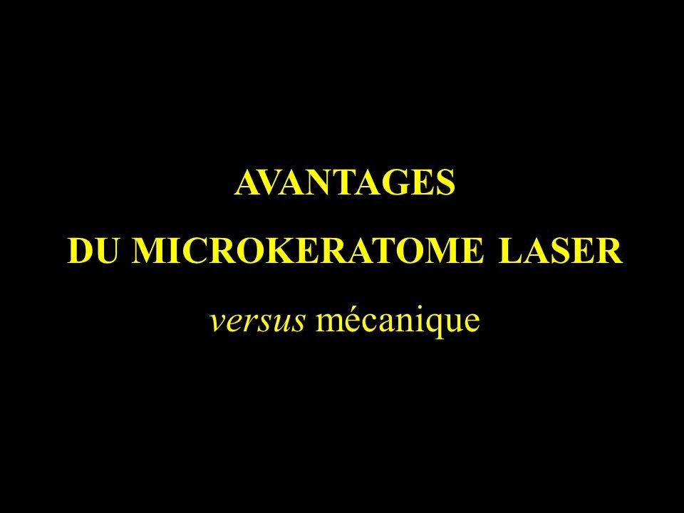 AVANTAGES DU MICROKERATOME LASER versus mécanique