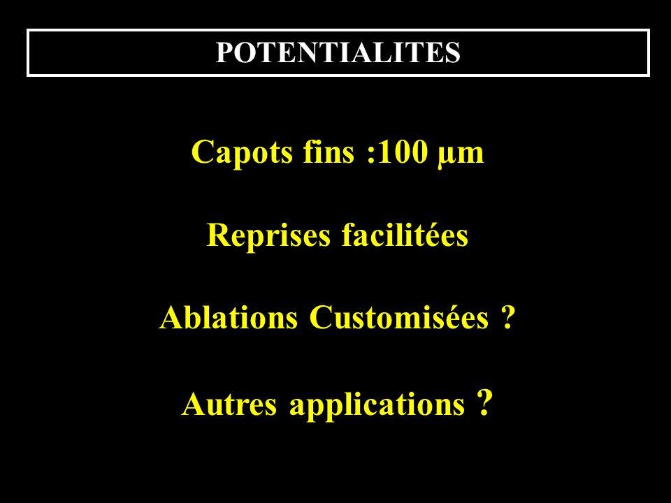 POTENTIALITES Capots fins :100 µm Reprises facilitées Ablations Customisées ? Autres applications ?