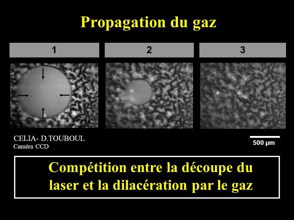 132 500 µm Propagation du gaz Compétition entre la découpe du laser et la dilacération par le gaz CELIA- D.TOUBOUL Caméra CCD