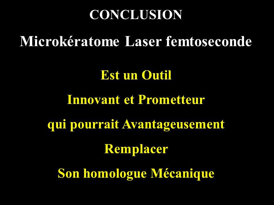 CONCLUSION Microkératome Laser femtoseconde Est un Outil Innovant et Prometteur qui pourrait Avantageusement Remplacer Son homologue Mécanique