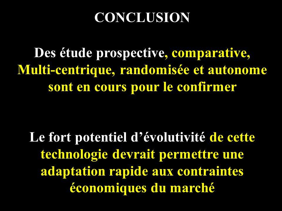CONCLUSION Des étude prospective, comparative, Multi-centrique, randomisée et autonome sont en cours pour le confirmer Le fort potentiel dévolutivité