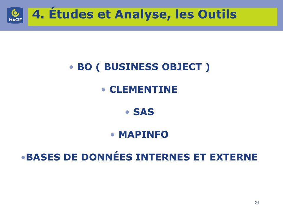 24 4. Études et Analyse, les Outils BO ( BUSINESS OBJECT ) CLEMENTINE SAS MAPINFO BASES DE DONNÉES INTERNES ET EXTERNE