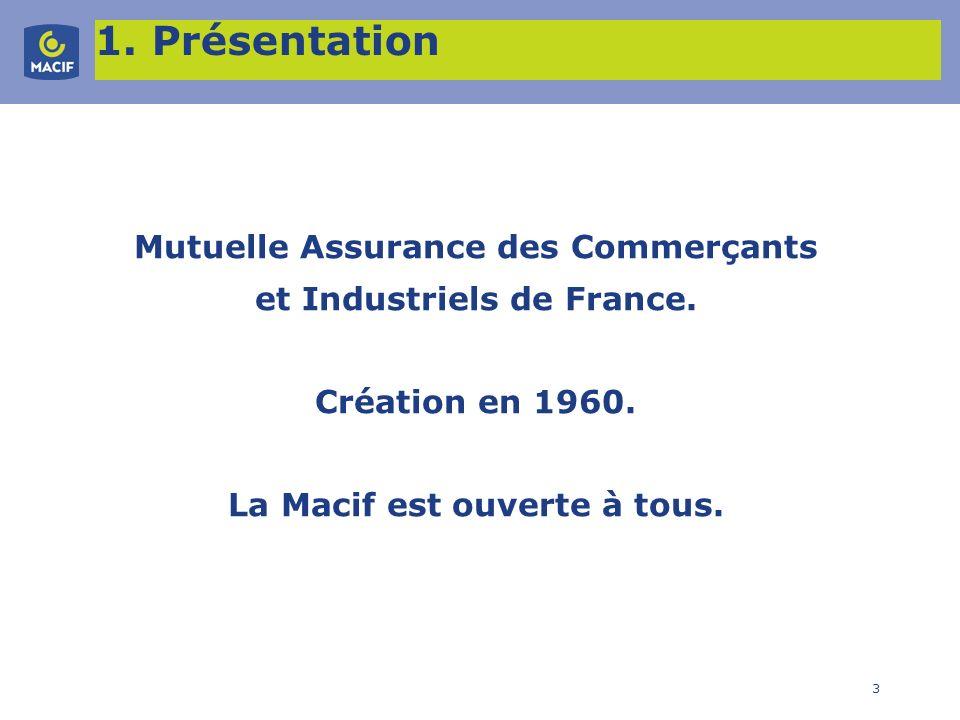 3 1. Présentation Mutuelle Assurance des Commerçants et Industriels de France. Création en 1960. La Macif est ouverte à tous.