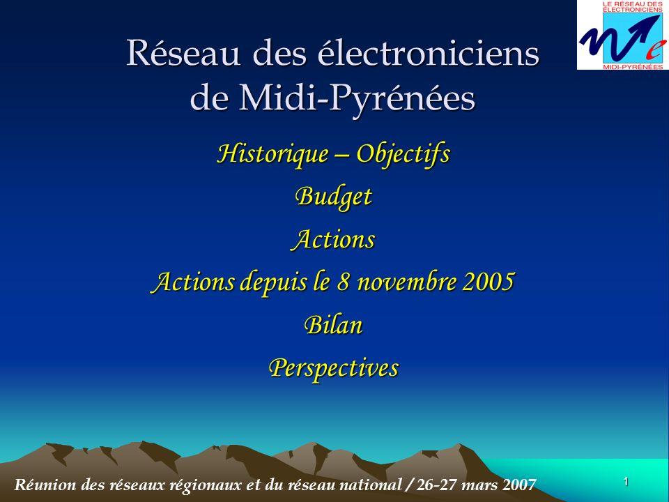 1 Réseau des électroniciens de Midi-Pyrénées Historique – Objectifs BudgetActions Actions depuis le 8 novembre 2005 BilanPerspectives Réunion des réseaux régionaux et du réseau national / 26-27 mars 2007