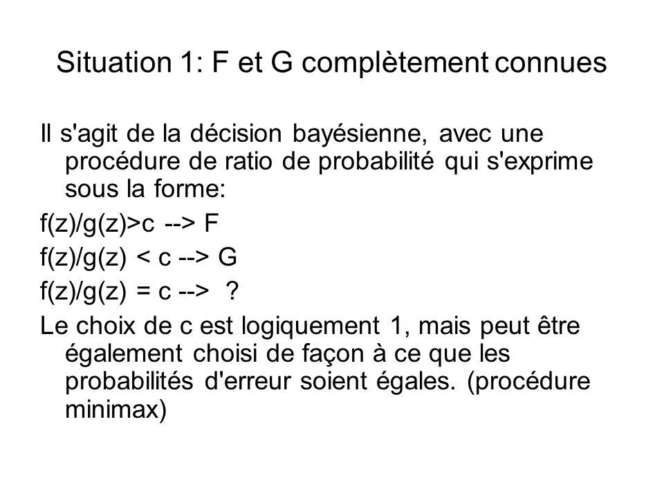 Situation 1: F et G complètement connues Il s agit de la décision bayésienne, avec une procédure de ratio de probabilité qui s exprime sous la forme: f(z)/g(z)>c --> F f(z)/g(z) G f(z)/g(z) = c --> .