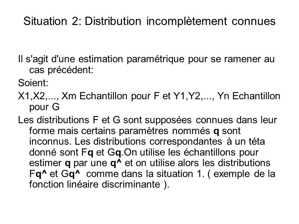 Situation 2: Distribution incomplètement connues Il s'agit d'une estimation paramétrique pour se ramener au cas précédent: Soient: X1,X2,..., Xm Echan